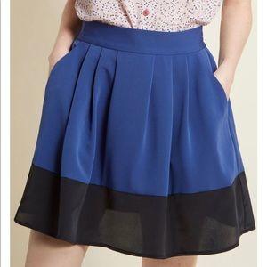 Sale! 3/$45 ModCloth Black & Blue Block Mini Skirt